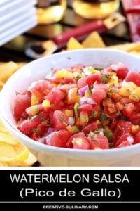 Watermelon Salsa in White Serving Bowl