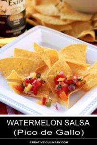 Watermelon Salsa Served on Tortilla Chips