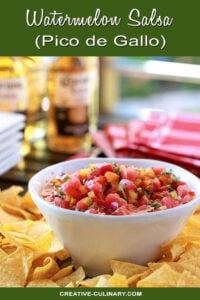 Watermelon Salsa with Red, Orange, Yellow, and Jalapeno Peppers
