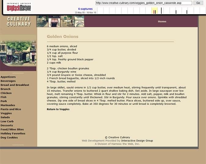 Creative Culinary - Wayback Machine