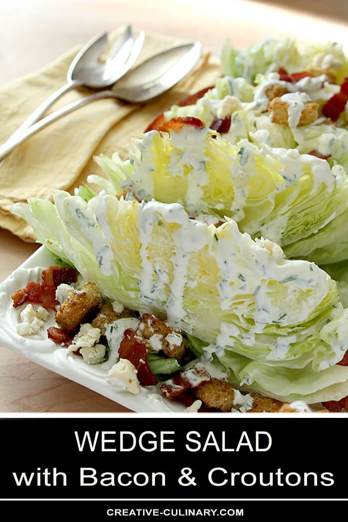 Iceberg Wedge Salad with Bacon, Croutons, and Blue Cheese Dressing