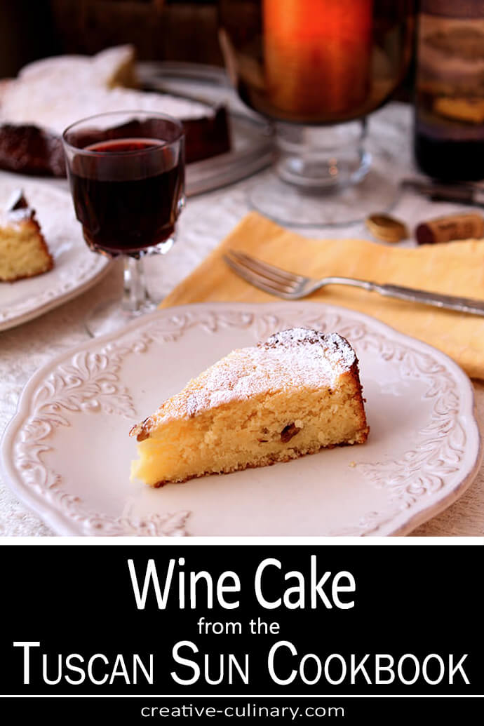 Wine Cake with Sherry served on a white plate. From the Tuscan Sun Cookbook.