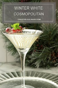 Winter White Cosmopolitan Cocktail Served in a Martini Glass - From the Bonefish Grill