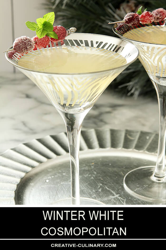Winter White Cosmopolitan Cocktail Served in a Martini Glass