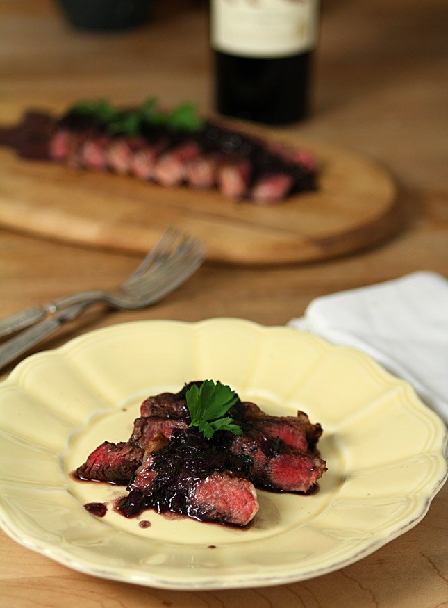 Steak with Red Wine and Herb Sauce