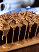 Date Coffee Cake with Walnuts and Espresso Glaze