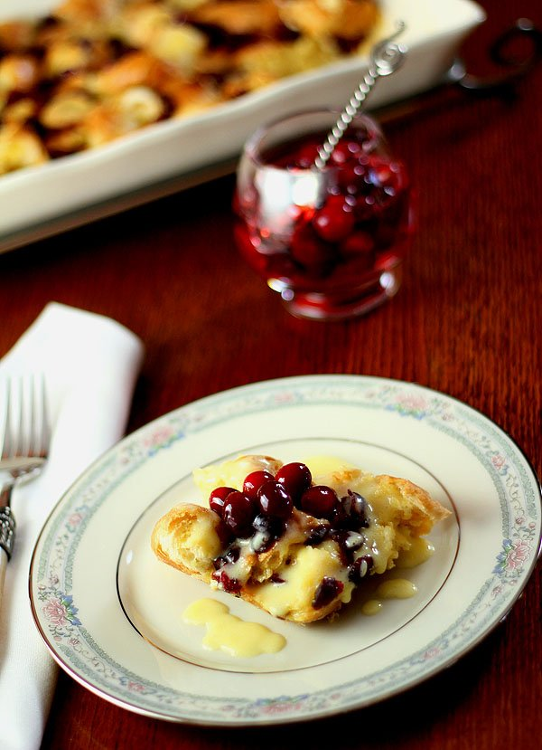 Cranberry and Croissant Bread Pudding with Champagne Zabaglione Sauce